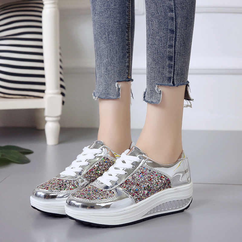 HEE GRAND mujer encaje-Up Casual mocasines plataforma Creepers Bling Glitter zapatos moda mujer pisos zapatos tamaño 35-41 XWC1429