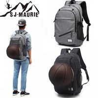 Multifunctional Sport Men Basketball Backpack Canvas School Bag for Teenager Boys Soccer Ball Pack Laptop Gym Bags Black Gray