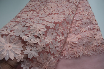 Newest Embroidered lace French Tulle lace fabric high quality with Beads African Wedding dress net lace fabric   CN05