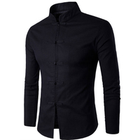 Brand 2016 Fashion Male Shirt Long Sleeves Tops Chinese Wind Tang Suit Collar Elastic Hemp Mens