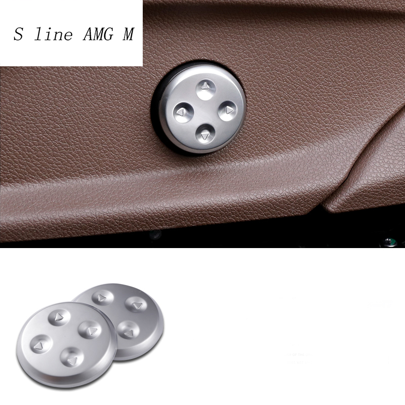 2pcs Car styling Chrome Seat Adjust Switch Button Cover Panel Trim For Mercedes Benz GLC/CLS/E/C Class W205 W213 Accessories image