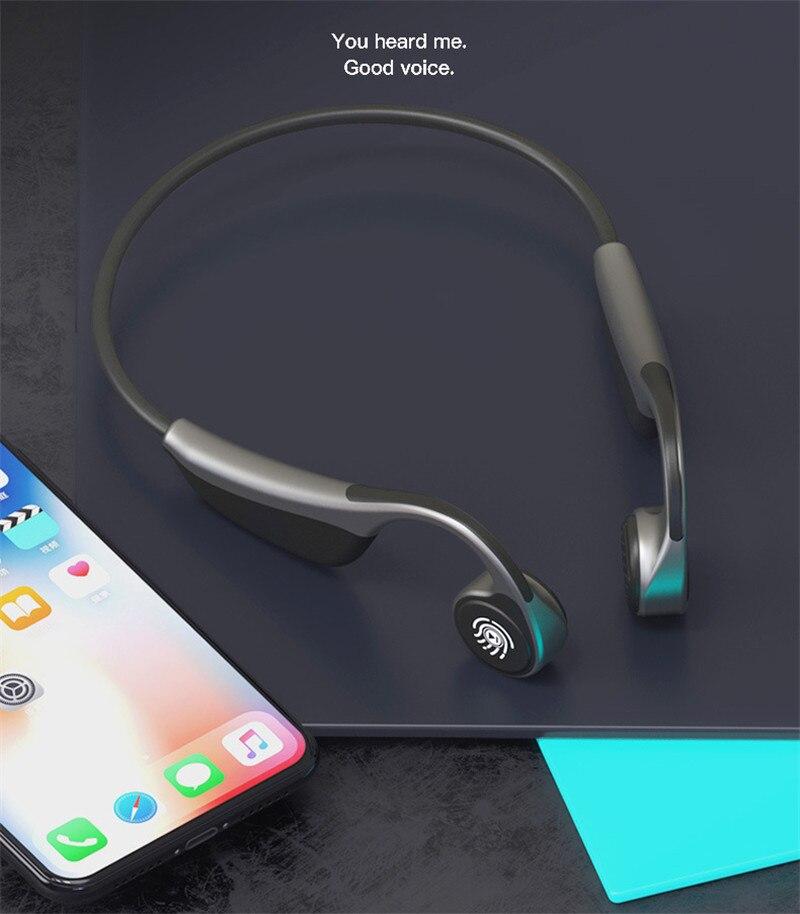 V9 nouveau concept casque Bluetooth conduction osseuse contrôle de l'écran tactile sans fil Bluetooth 5.0 casque de sport monté sur l'oreille