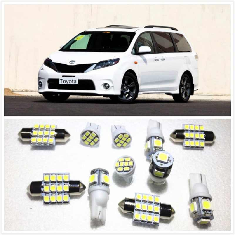 11 set White LED Lights Interior Package 10 & 31mm Map Dome For Toyota Kluger Sienna Corolla Hiace Prius RAV4 Sequoia 1990-2019