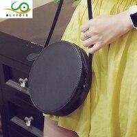 Mlitdis в Новинка 2017 одного плеча сумку склонны круглая сумка, женские сумки модные кожаные полиуретановая кожа фабричного изготовления черны...