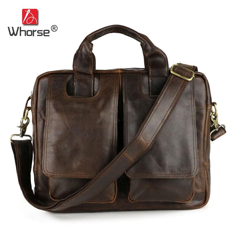 [WHORSE] Brand Men Handbag Genuine Leather Business Briefcases Bag Natural Cowhide Messenger Shoulder Bags High Capacity W86310 цена и фото