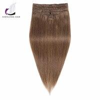 SHENLONG HAIR Straight Remy 100 Human Peruvian Hair Weaving 6 Clip In Hair Extensions 9pcs Set