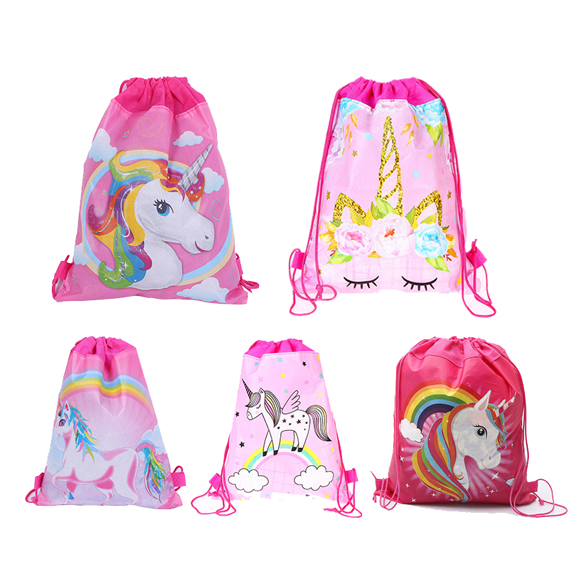 1pcs Carttoon Unicorn Drawstring Bag Kids School Backpack Travel Storage Package Children Birthday Party Gift Unicorn Party Supp(China)