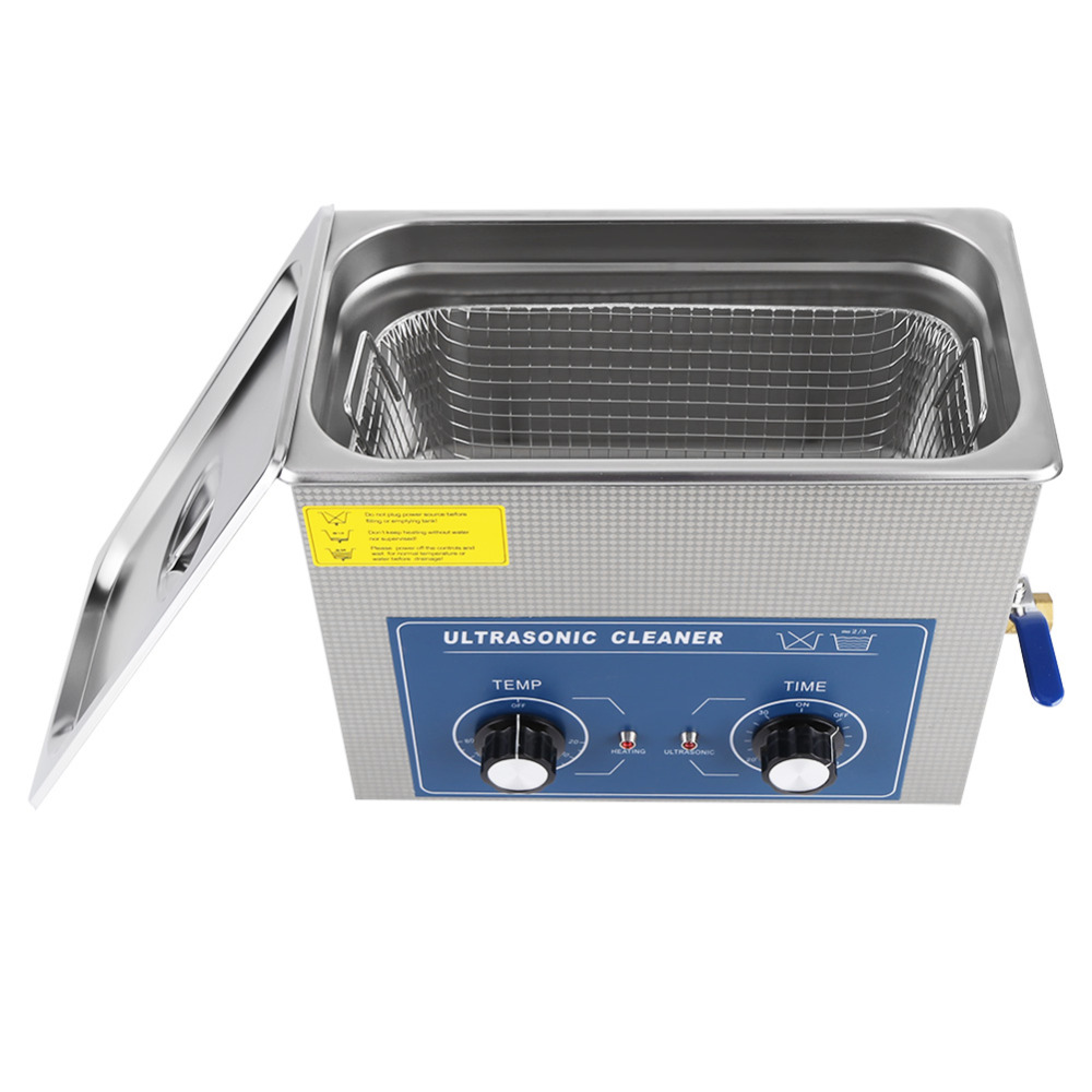 6L Ultrasonic Cleaner Bath Heated Timer Stainless Steel Mechanical Cleaning Tank Machine with Basket For Jewelry