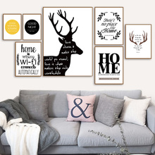 Black White Deer Antler Quotes Wall Art Canvas Painting Nordic Posters And Prints Pictures For Living Room Home Decor