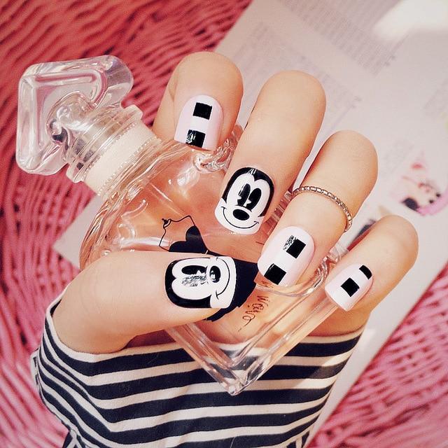24 unids Mickey Mouse Impresa Uñas Postizas Falsas Completo Nails ...
