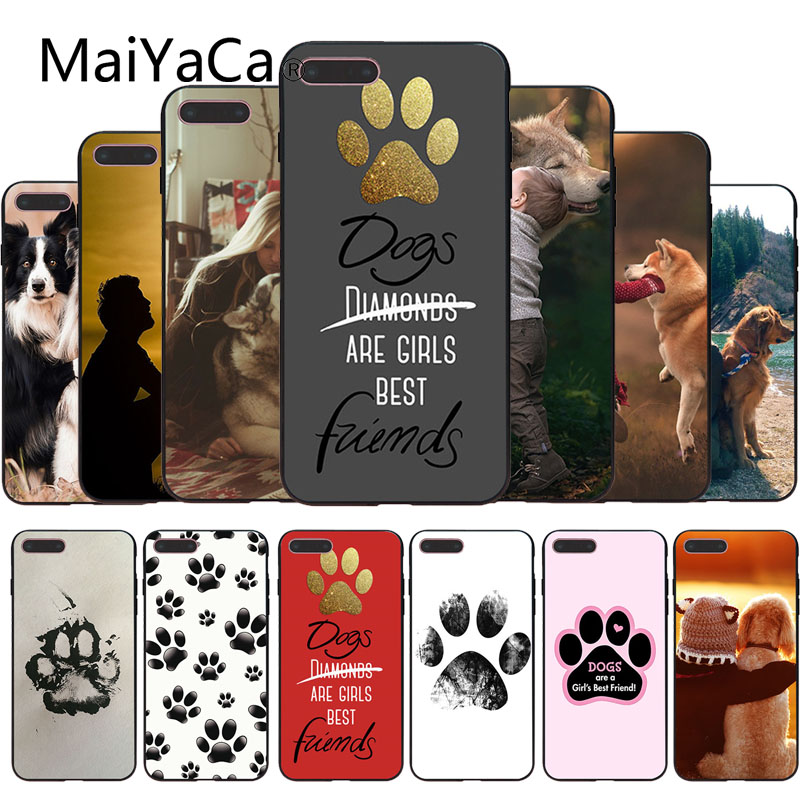 MaiYaCa Dogs Are Girls cute Dog paws Soft print Phone Access