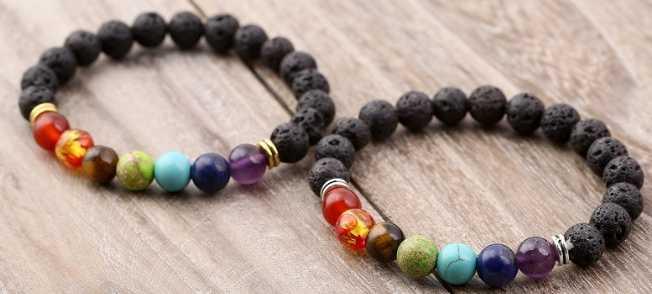 Equilíbrio de Cura Reiki Chakra ajustável Preto Lava Buda Oração Yoga Bracelete de Ônix Fosco Pedra Vulcânica qjh32