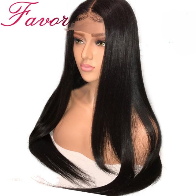 180% Density Glueless Full Lace Human Hair Wigs Brazilian Straight Remy Full Lace Wigs With Baby Hair Pre Plucked Hairline Favor