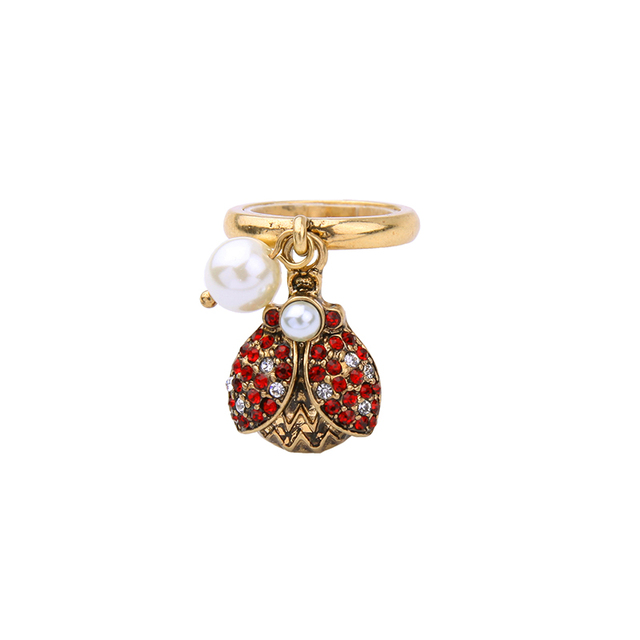 Antique Gold Color Red Rhinestone Insect Vintage Ring 2017 New