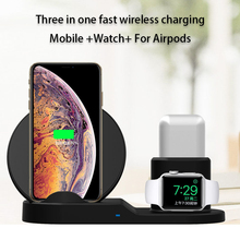 10W 7.5 QI Fast Wireless Charger 3 in 1 For iPhone 8 X Xr XS Max Watch For AirPods For Samsung S7 S8 S9 Universal Phone Chargers raxfly wireless 3 in 1 charger for iphone max xr xs x 8 7 plus fast charging watch for airpods phone chargers for iphone 6 6s 5