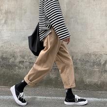 2019 Yaz erkek Yeni Moda Trendi Düz Rahat Gevşek Siyah/haki Renk Kargo Pantolon Streetwear Erkek Pantolon Artı boyutu S 2XL