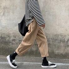 2019 degli uomini di Estate di Nuovo Modo di Tendenza Dritto Casual Allentato Nero/Colore kaki Pantaloni Cargo Streetwear Pantaloni Maschili Più I Pantaloni formato S 2XL