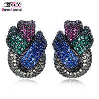 DC1989 New Woven Bowknot Design Women Small Color Drop Earrings Cadmium Lead Free Platinum Plated