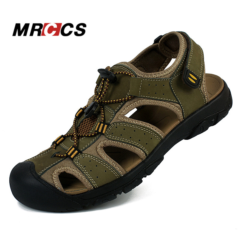 MRCCS Men s Summer Cool Sandals Non Slip Genuine Leather Soft Rubber Sole Beach Shoe Quality