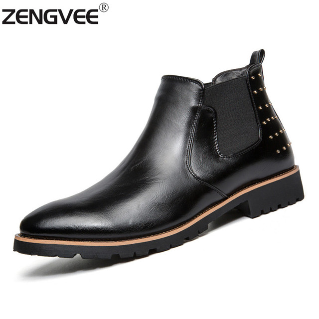 8d39fa6858f Brand Hot Sale Men Black Leather Boots Men Ankle Boots Fashion Leather  Autumn Winter Shoes Genuine Leather Men Slip On Boots