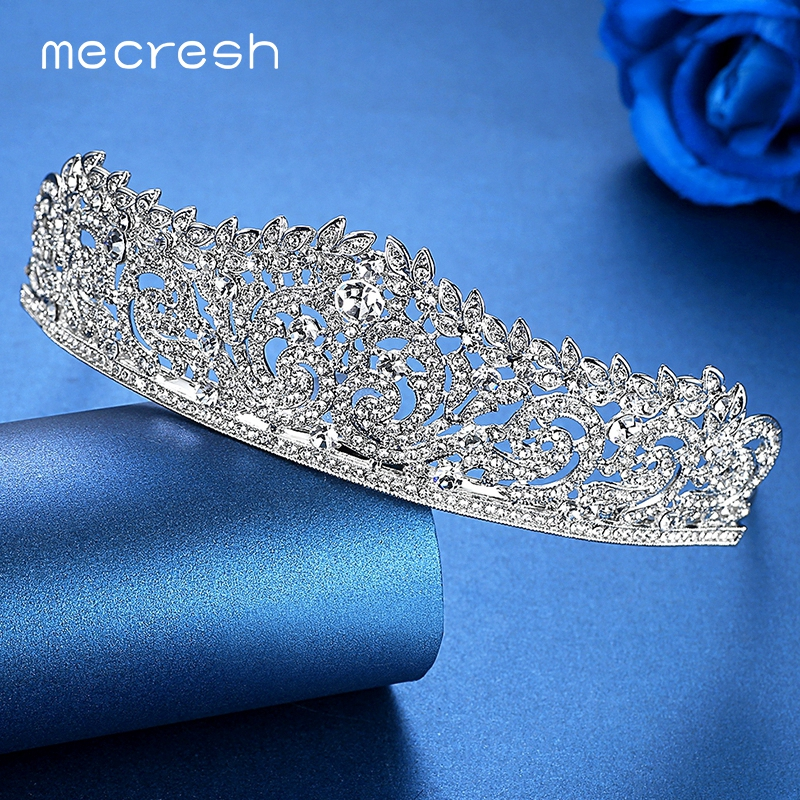 Mecresh Trendy Crystal Crown Tiara for Bride Silver Color Rhinestone Wedding Hair Accessories Jewelry Party Christmas Gift HG060