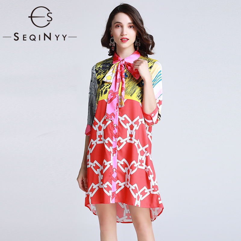 SEQINYY Casual Dress 2019 Summer Women New Fashion Design 3/4 Sleeve Yellow Leopard Pink Star Printed Loose Straight Dress