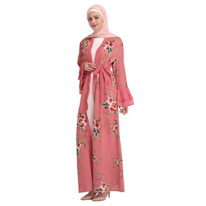 Image 4 - Chiffon abaya turquia hijab muçulmano vestido kaftan dubai abayas para mulher qatar ramadan caftan marocain jilbab robe roupas islâmicas