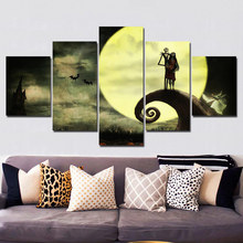 5 Pieces Canvas The Nightmare Before Christmas Modular Pictures panel painting Wall Art poster and prints F428