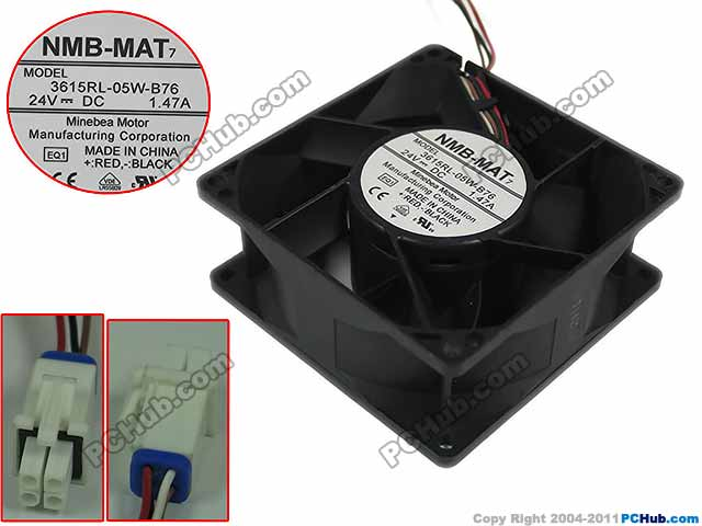 NMB-MAT 3615RL-05W-B76 EQ1 DC 24V 1.47A 90x90x38mm 4-wire Server Square Fan adda 54841l1s fast600epa server laptop fan dc 5v 0 5a 4 wire