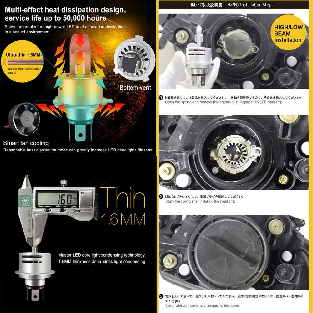 Car LED Headlight 60W H4 LED HB2/9003 Hi/Lo H7 H1 H11 HB4 9006 9005 HB3 white 6500K LED Car Headlight Bulb