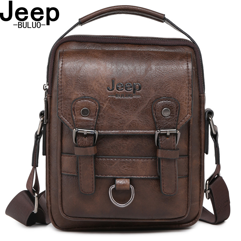 JEEP BULUO  Brand New Man's Crossbody Shoulder Bag Multi-function Men Handbags Large Capacity Split Leather Bag For Man Travel