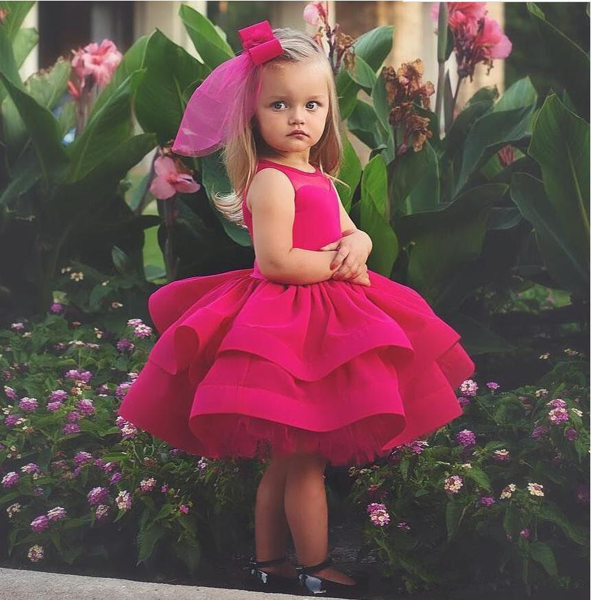 Lovely fushia Princess   Flower     Girls     Dresses   for Wedding Ruffle Satin Tulle Knee Length firls Pageant   dresses