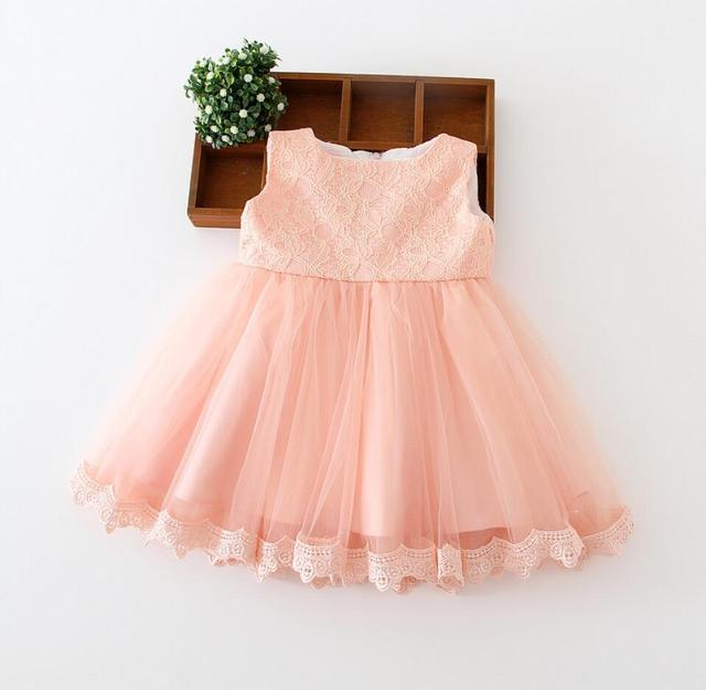 0e1788204cb91 1PC Peach White Sleeveless Baby Girl Baptism Christening Easter Gown Dress  Lace Bowknot Flower Girl Party Dress 0 24Months-in Dresses from Mother & ...