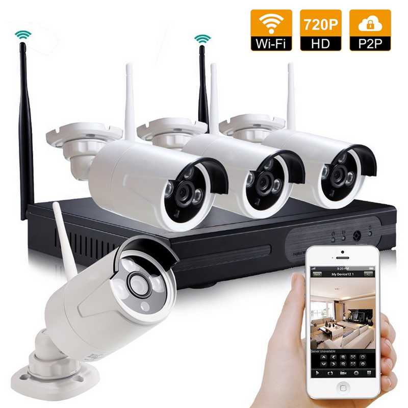 LOFAM 4CH Array Wireless Security Camera System NVR Kit 720P CCTV WIFI Outdoor Full HD 1