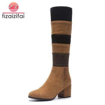 Coolcept Size 33-43 Women High Heels Boots Real Leather Woman Shoes Mixed Color Knee Boots Fashion Ladies Winter Warm Boots
