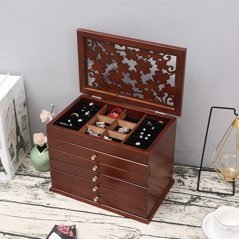 New Flower Wood Jewelry Box Gift Box for Jewelry Packaging Display Large Exquisite Makeup Case