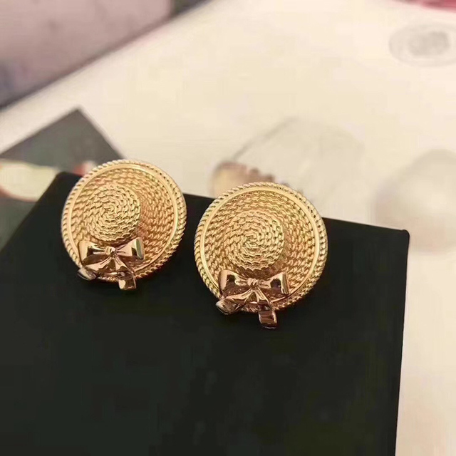 2017 Fashion Stud Earring Copper Silver Needle Famous Luxury Name Brand Cc Jewelry Hat For