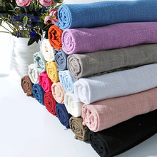 Solid Color Linen Cotton Fabric DIY Craft Clothes Cushion Quilting Handwork 130x100CM Anti-Pilling Sewing Patchwork Fabric S146(China)
