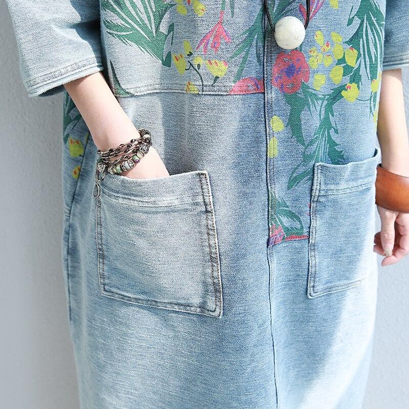 Lavé Blanc Printemps 2018 cou Paragraphe Show Coton Robe Lâche D'impression Picture Naturel Main Mode La Femme Long Cowboy À D'o De q040tx