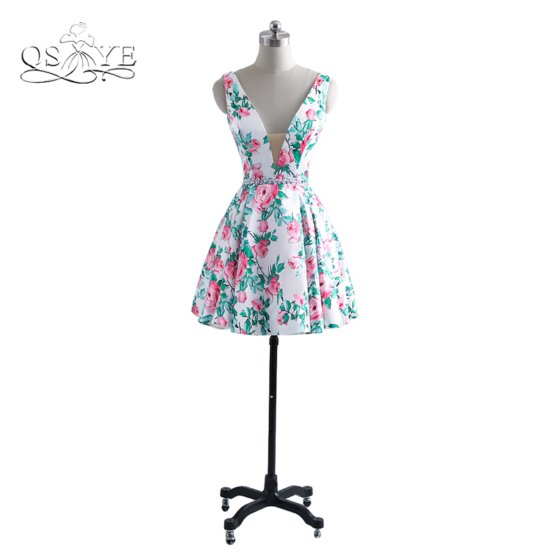 2017 New Fashion 3D Floral Print Short Prom Dresses Sexy V Neck Open Back Flower Pattern Girls Homecoming Party Gown