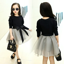 2018 New Fashion Children Two-piece Set Girl Clothes Set Kids T-shirt and Skirt Baby Skirt Cotton Black Tops Bubble Skirt, #2220