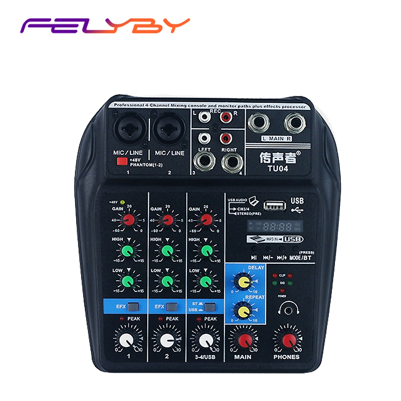 цена на FELYBY TU04 mixer with Bluetooth USB and sound card function mixer for recording voice-activated radio