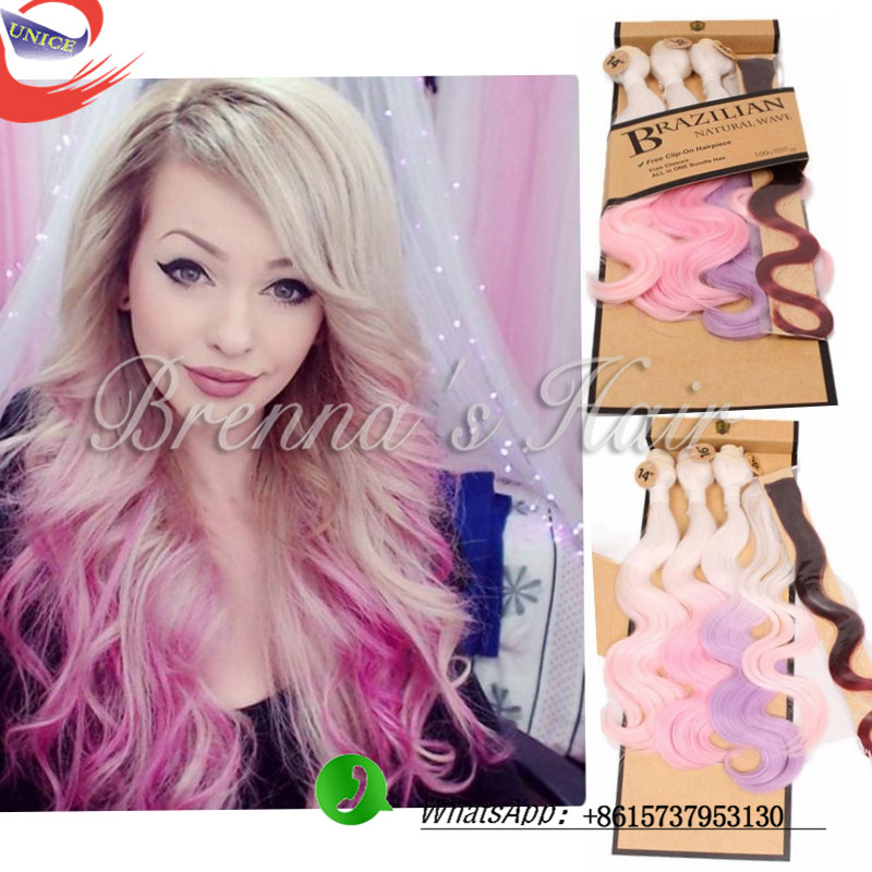 New Arrival Pink Weave Bundles Two Tone Brazilian Weave Hair 4pcs