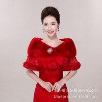 Warm Red Winter Faux Fur Wedding Shawl 2018 Lace Bead Elegant Fur Wrap Shawl Bridal Coat Bolero Cape Wedding Accessories LT037
