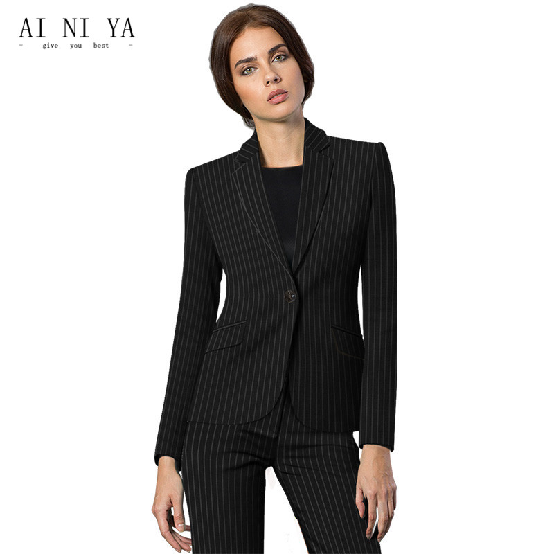 Black White Striped Pattern Elegant Pant Suits For Women Business Formal Female Office U ...
