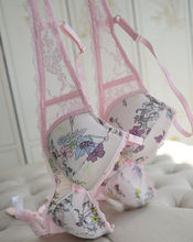 Wholesale and Retail Graceful Womens Sexy Padded 3/4 Cup Underwire Floral Lace Bra 32-38 A B C D DD Bra-639