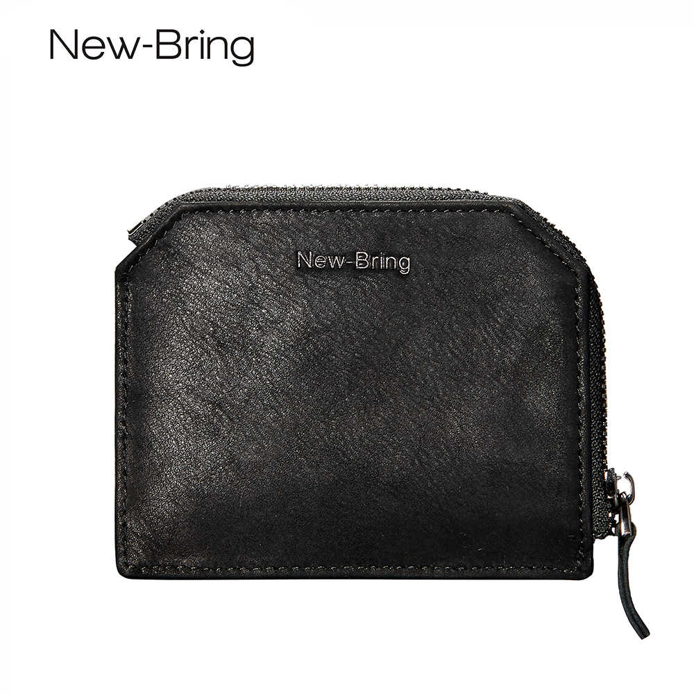 c61f17bbcdb3 NewBring 2018 Leather Zipper Wallet Male Mini Money Purse Women Black Slim Card  Holder Short Male