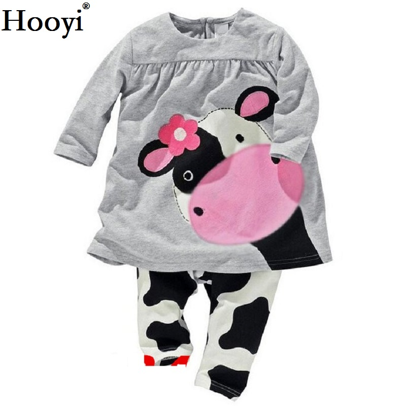 Hooyi Dog Baby Girls Pajamas Suits 2 3 4 5 6 7 years Children Clothes Sets Girl Clothes sets T-Shirts Pant Sleepwear 100% Cotton 4