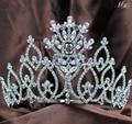 "Dazzling Flower Tiaras 5"" Floral Brides Crowns Handmade Clear Rhinestone Crystal Diamante Headpiece Wedding Bridal Prom Party"