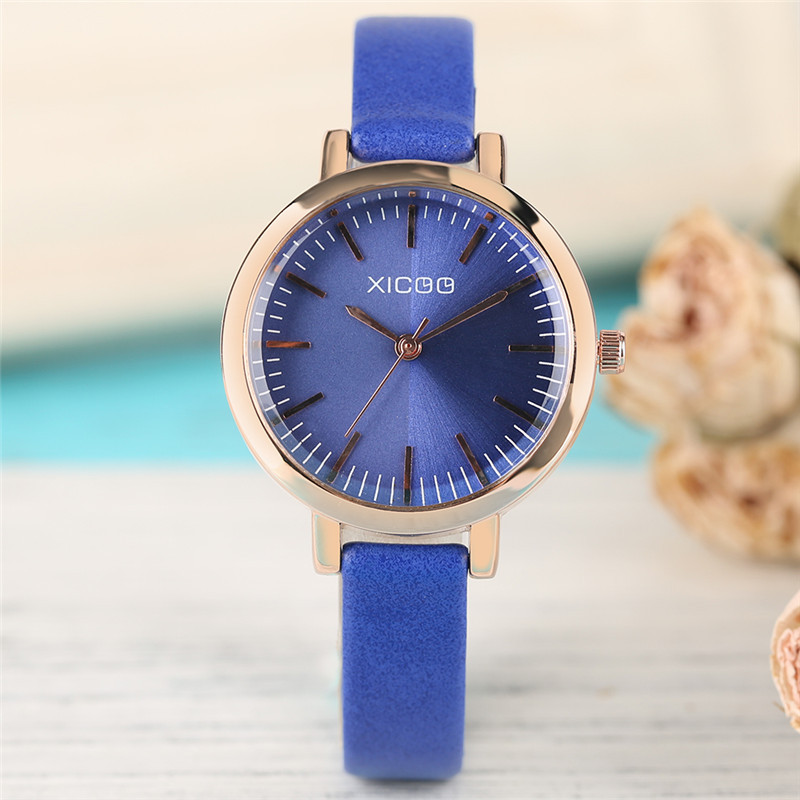 Women Fashion Elegant Blue Purple Noble Genuine Leather Band Strap Stainless Steel Case Analog Quartz Wrist Watch Female Gift meibo fashion women hollow flower wristwatch luxury leather strap quartz watch female watch gift blue
